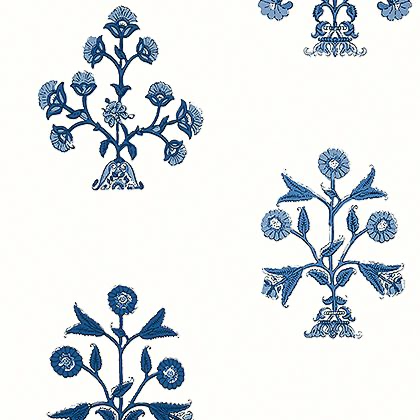 Thibaut Indian Flower Wallpaper in Blue