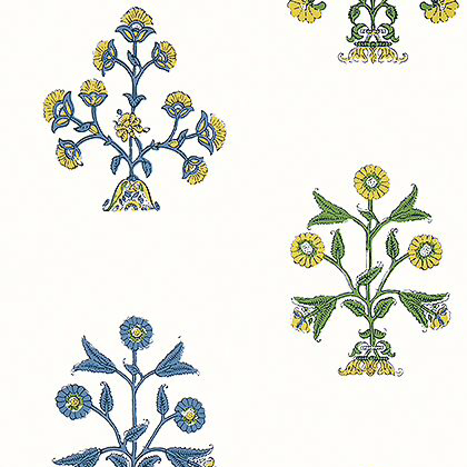 Thibaut Indian Flower Wallpaper in Blue and Yellow