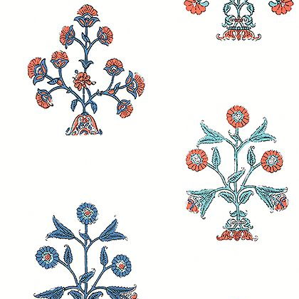Thibaut Indian Flower Wallpaper in Coral and Blue