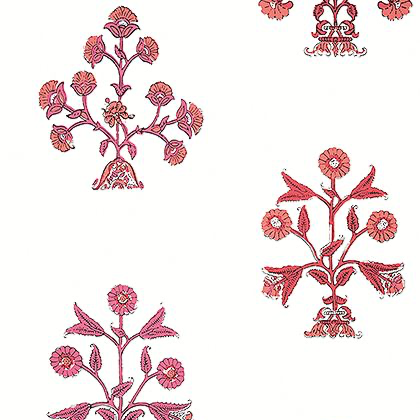 Thibaut Indian Flower Wallpaper in Pink