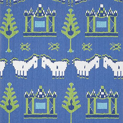 Thibaut Kingdom Parade Wallpaper in Blue and Green