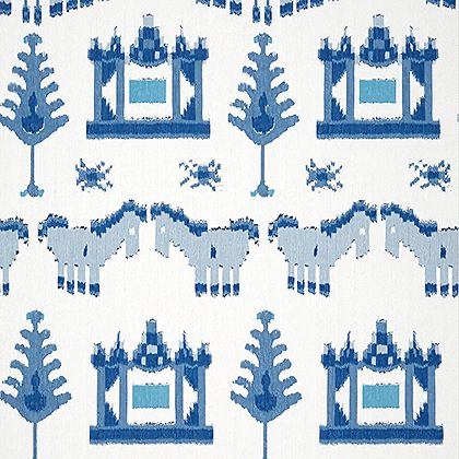 Thibaut Kingdom Parade Wallpaper in Blue and White