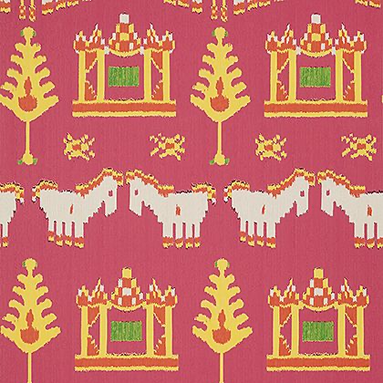 Thibaut Kingdom Parade Wallpaper in Pink