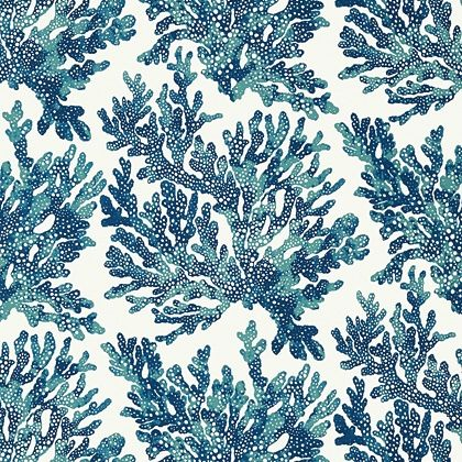 Thibaut Marine Coral  Wallpaper in Navy