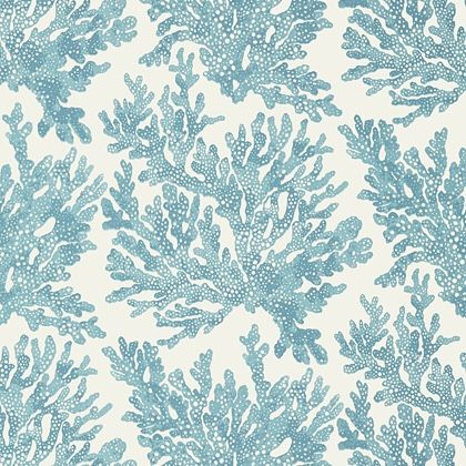 Thibaut Marine Coral  Wallpaper in Spa Blue