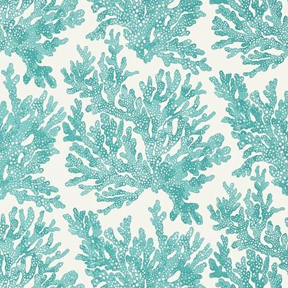 Thibaut Marine Coral  Wallpaper in Turquoise