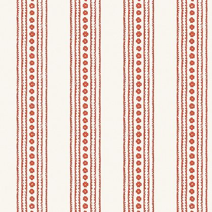 Thibaut New Haven Stripe Wallpaper in Coral