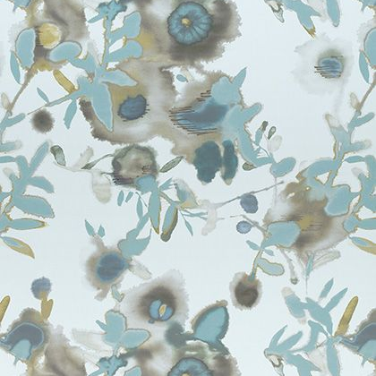 Thibaut Open Spaces Fabric in  Beige and Teal