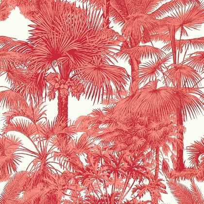 Thibaut Palm Botanical  Wallpaper in  Coral