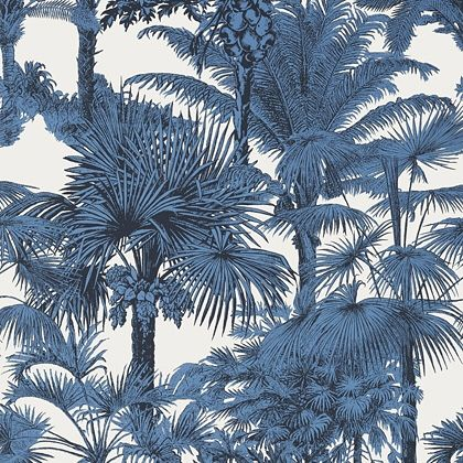 Thibaut Palm Botanical  Wallpaper in  Navy