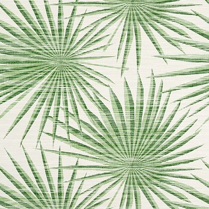 Thibaut Palm Frond Wallpaper in Green and White