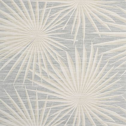 Thibaut Palm Frond Wallpaper in Metallic Silver on Beige