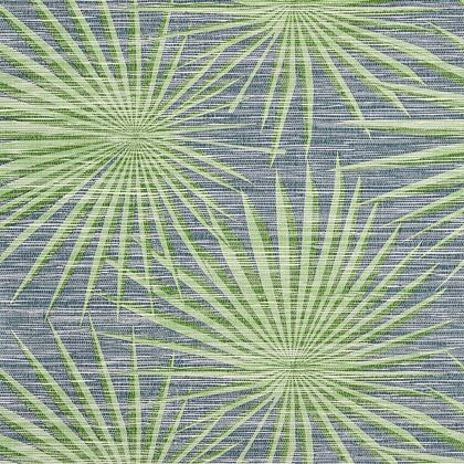 Thibaut Palm Frond Wallpaper in Navy and Green