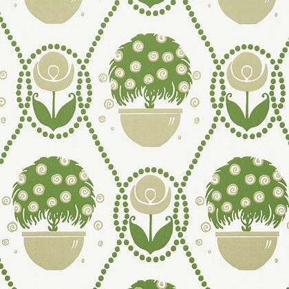 Thibaut Rene  Wallpaper in Green and Beige