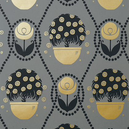 Thibaut Rene  Wallpaper in Metallic Gold on Charcoal