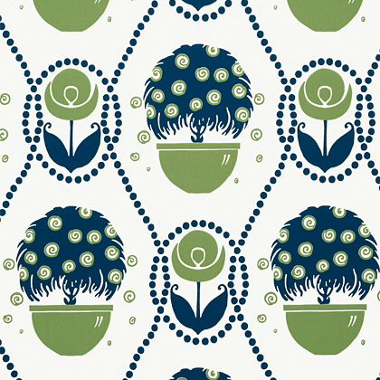 Thibaut Rene  Wallpaper in Navy and Green