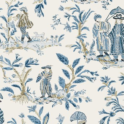 Thibaut Royale Toile Wallpaper in Blue