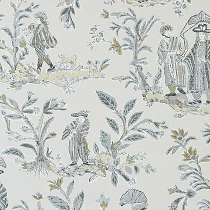 Thibaut Royale Toile Wallpaper in Grey