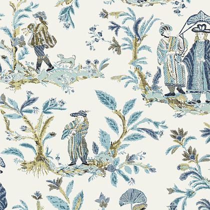 Thibaut Royale Toile Wallpaper in Turquoise and Navy