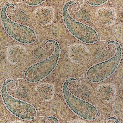 Thibaut Sherrill Paisley Fabric in Teal and Beige