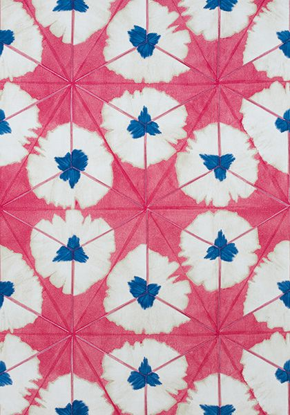 Thibaut Sunburst Fabric in Pink and Blue