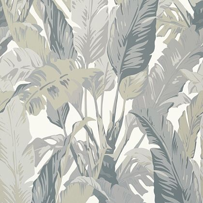 Thibaut Travelers Palm  Wallpaper in Grey