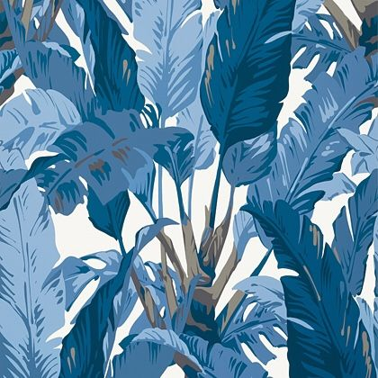 Thibaut Travelers Palm  Wallpaper in Navy and White