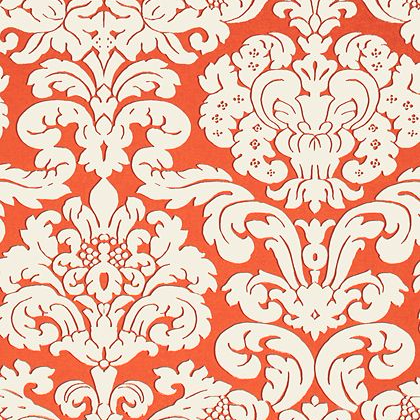 Thibaut Trelawny Damask Wallpaper in Coral