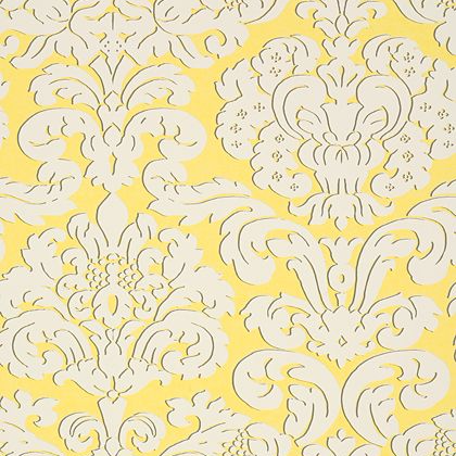 Thibaut Trelawny Damask Wallpaper in Yellow
