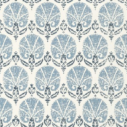 Thibaut Turkish Damask Wallpaper in Blue and White